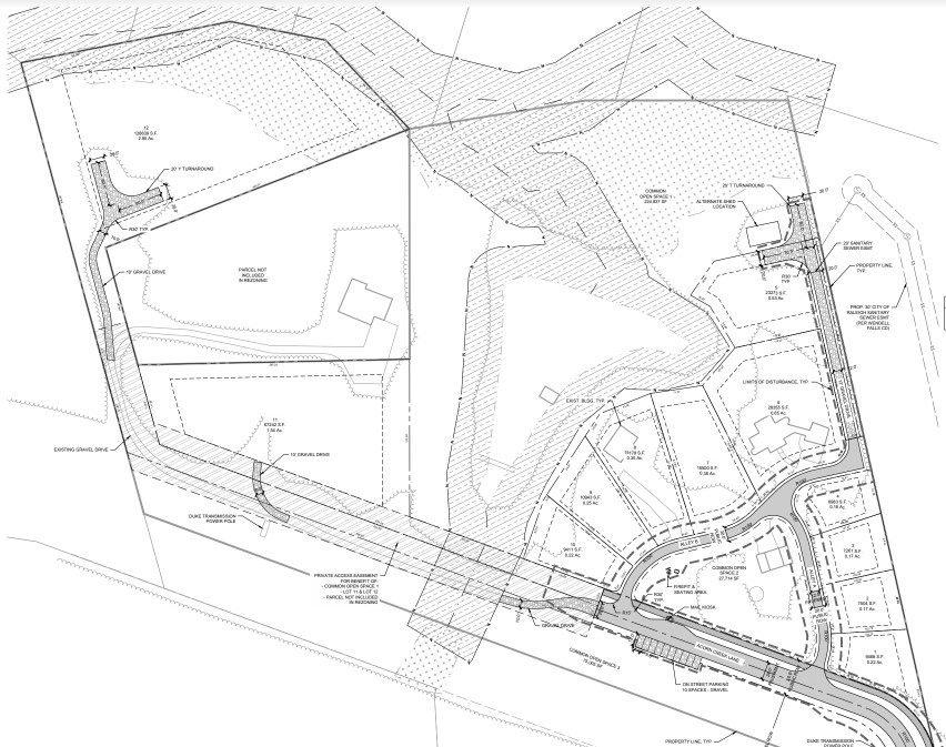 Drawing of plans for Acorn Creek property indicating lots and pond.